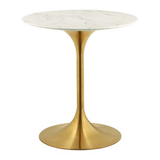 Lippa Round Dining Table With Gold Base, Marble Top, 28""