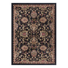 Leanna Transitional Oriental Black Rectangle Area Rug, 5' x 7'