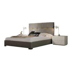 Veronica 3-Piece Modern Bedroom Set, Grey and Yellow, Queen