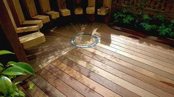 Circular deck and firepit