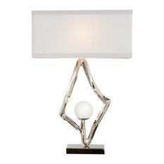 """Abstract Lamp With 6"""" Crystal Sphere, Brass, Nickel"""