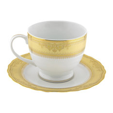 Vanessa Ballet Cup and Saucer, Set of 6, Gold