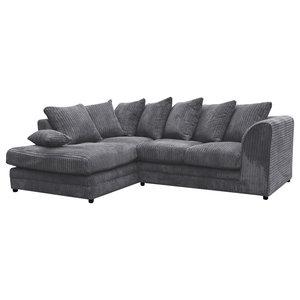 Darcey Grey Corner Sofa, Left Facing