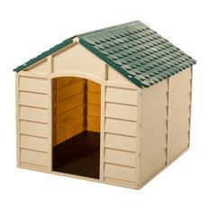 Starplast Small Dog House Kennel, Beige/Green