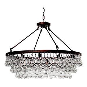 Lightupmyhome Celeste Glass Drop Crystal Chandelier, Oil Rubbed Bronze
