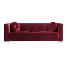 Red Velvet Tufted Sofas | Houzz