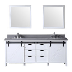"80"" Double Vanity White, Gray Quartz Top, White Sinks, 30"" Mirrors"