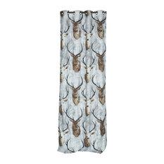 Stag Print Cotton Curtain, 140x270 cm