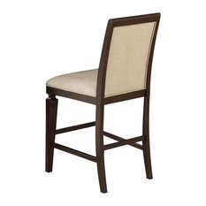 Acme Agatha Counter Height Chairs Set Of 2 Linen And Espresso