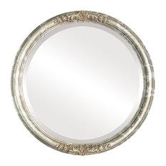 "Contessa Framed Round Mirror in Champagne Silver, 15""x15"""