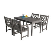 Renaissance Hand-Scraped Hardwood 5-Piece Dining Table and Armchair Set