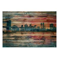 """Bridge at Dusk"" Print on Natural Pine Wood, 45""x30"""
