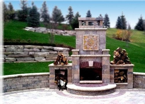 Fireplace Focal Point: Custom Stone art