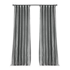 "Platinum Blackout Faux Silk Taffeta Curtain Single Panel, 50""x96"""