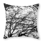 Black Tree Couch Throw Pillow - Cover (16  x 16 ) with pillow insert - Indoor Pi
