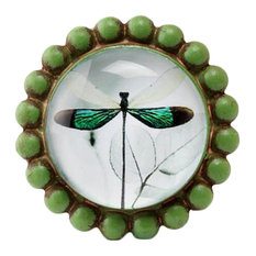Creative Drawer/Cabinet Pull Handles Alloy Cabinet Knobs, Green Dragonfly