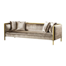 Andrew Martin Reagan Modern Classic Upholstered Wood Gold Metal Frame Sofa