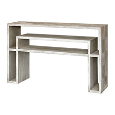 Genara Contemporary Bone White Carved Console Table