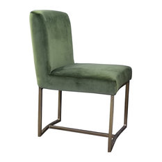 Velvet Low Back Dining Chair With Rustic Bronze Frame, Green