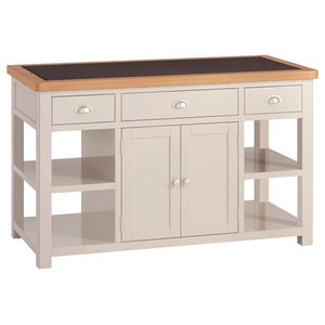Portland Painted Oak Large Kitchen Island, Stone