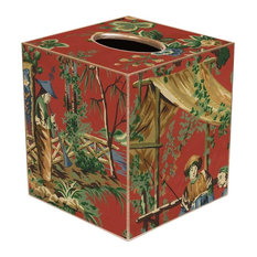 TB224 - Red Chinoiserie Tissue Box Cover
