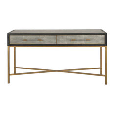 59-inch L Jocelyn Console Table Modern Contemporary Solid Wood Brass Base & Pulls