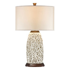 Pacific Coast Lighting   Seaspray, Wood, Pearl White   Table Lamps