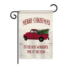 "Merry Christmas Vintage Truck Winter, Seasonal Garden Flag 13""x18.5"""
