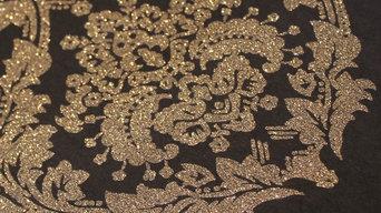 Gold Glitter Damask