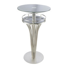 Yukon Contemporary Bar Table, Stainless Steel and Gray Frosted Glass