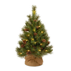 National Tree Company - 3' Pine Cone Burlap Tree With 35 Warm White Battery Operated LED Lights, Timer - Christmas Trees