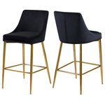 Meridian Furniture - Karina Velvet Stool, Set of 2, Black, Gold Base - Yield to your contemporary side with this Karina Black Velvet Stool. This modern stool is counter height, making it an ideal addition to a home bar or eat-in kitchen counter. The black velvet upholstery brings a neutral element to your room, so it can easily meld with other furnishings. Plump seat and back cushions ensure that guests sit comfortably, whether they're enjoying a sudsy brew or a stack of pancakes. The polished gold metal frame is sturdy and stout, adding a durable slant to this lovely stool.
