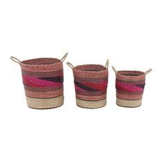 Craftsman Round Seagrass Baskets, 3-Piece Set, Pink