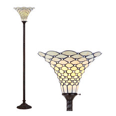 """White Tiffany-Style 70"""" Torchiere Floor Lamp, Bronze"""