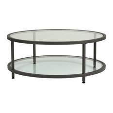Studio Designs - Studio Designs Home Camber Round Pewter Coffee Table With Clear Glass - Coffee Tables