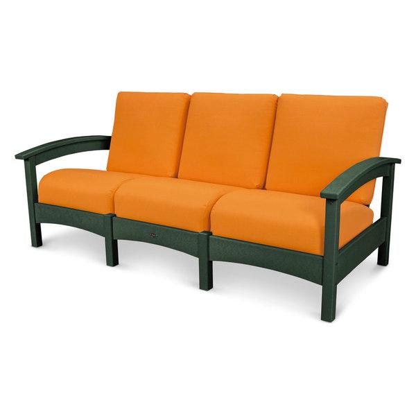 Outdoor Rockport Club Sofa, Seat: Tangerine, Base: Rainforest