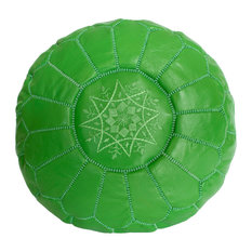 Embroidered Leather Pouf, Green