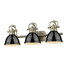 Duncan 3-Light Bath Vanity, Aged Brass With Black Shades