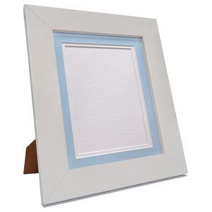"Brix Frame, White, Blue on White Double Mount, 8x8"", Image 5x5"""
