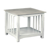 End Table in Distressed White and Light Gray