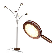 Brightech Orion 5 - Super Bright, Modern LED Arc Lamp, Oil Brushed Bronze