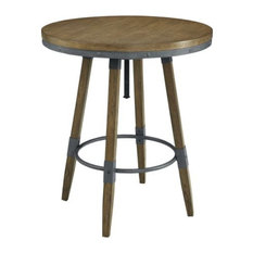 Adjustable Round Bar Table, Weathered Oak Brown and Gray
