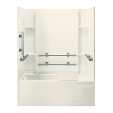 """Sterling  Accord 74""""x32""""x60"""" Vikrell Bathtub, Left-Hand, Biscuit"""