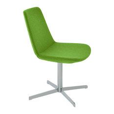 Eiffel 4 Star Dining Chair, Chrome Base, Pistachio Camira Wool