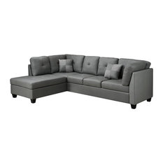 Monarch Specialties Sectional Sofa Light Gray Material Bonded Leather Sofas