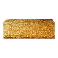 Indian Embroidered Mirrorwork Cotton Bedspread, Gold