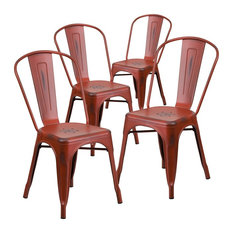 Distressed Kelly Red Metal Indoor Stackable Chairs Set Of 4