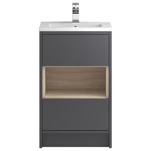 Octavia Freestanding Vanity Unit and Sink, Gloss Grey and Driftwood, 51 Cm
