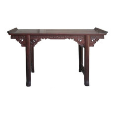 Chinese Suan Zhi Rosewood Dragon Carving Altar Table Desk