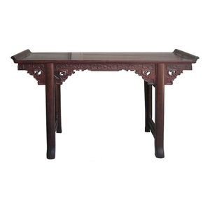Chinese Suan Zhi Rosewood Dragon Carving Altar Table Desk  Golden Lotus Antiques
